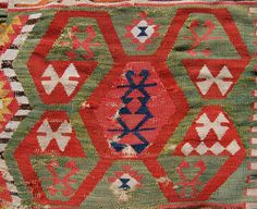 Colourful antique central anatolian kelim. Circa 1800. 330 x 178cm. Damaged with holes but now conserved and ready for display. Lovely colour!