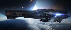 Space Ship, Lownine . on ArtStation at https://www.artstation.com/artwork/JD84Z