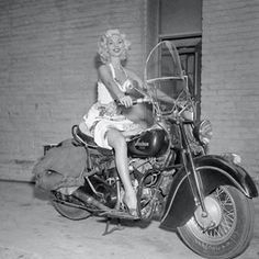 """""""She was a really cute girl - if she'd owned the bike she would have been perfect """" #1950s #motorcycle #retro #legs #blonde #pinup #vintage #dress #indianbike #cute #bike #ritualofthesavage #midcentury #smile #model #actress #sexy #motorbike #hollywood #mistyayers #blackandwhitephotography"""