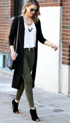 Olive pants white tee black cardigan black open toe booties