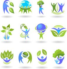 Menschen und Natur und Umwelt-symbol vector art illustration