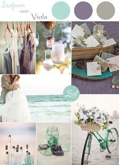 seafoam green and viola purple beach themed wedding color ideas
