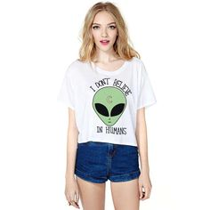 c402fbe683a Uideazone Women Funny Alien Crop Top Girls White *Click image to check it  out* (affiliate link). Women's Clothing