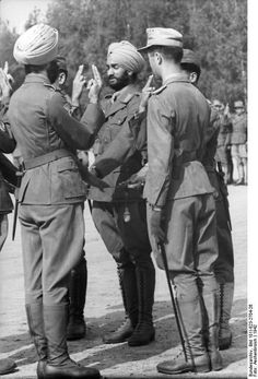 Soldiers from the Free Indian Legion - Germans recruited disaffected Indians from the British army - taking an oath? Soldiers from the Free Indian Legion - Germans recruited disaffected Indians from the British army - taking an oath? World History, World War Ii, Luftwaffe, Germany Ww2, Military Pictures, Prisoners Of War, Indian Army, My War, German Army