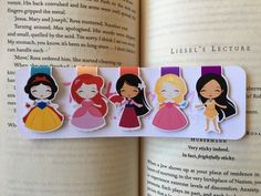 Set of Four/Five Mini Princess Magnetic Bookmarks by ReadandWonder