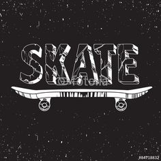 Vector: Skate board typography t-shirt graphics,sport,vectors and seamless pattern