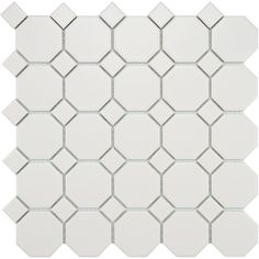 Somertile 11-5/8x11-5/8-inch Victorian Octagon Matte White with White Dot Porcelain Tile (Case of 10) | Overstock.com