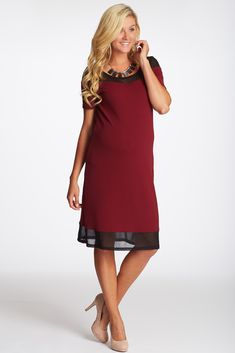 Burgundy-Textured-Mesh-Accent-Fitted-Maternity-Dress