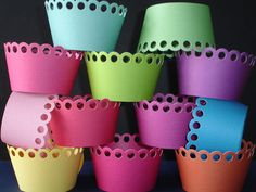 12 Jewel Toned Rainbow Cupcake Wrappers... holder, birthday, party, boy, girl, bridal. $6.00, via Etsy.