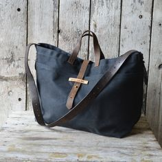 On my list to buy.....Super Roomy Large Waxed Canvas Tote Coal antique by PegandAwl, $280.00