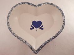 Ceramic Heart Serving Dish Hand Painted Blue and White Decorative Platter Folk Art Tray Country Farmhouse Stoneware Baking Dish