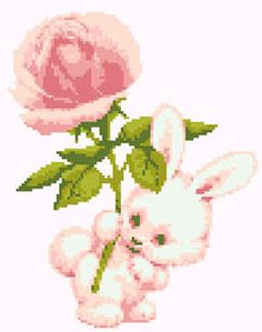 Bunny with Rose free cross stitch pattern