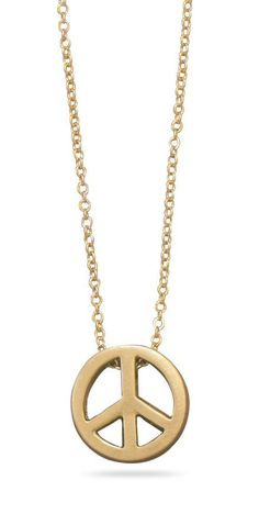"16"" + 3"" Gold Tone Peace Sign Fashion Necklace"