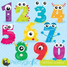 Monster numbers clipart set ideal for class decorations, craft projects or printables. This set includes adorable cliparts of monster numbers zero through nine. This vector clipart set is suitable for invitation making, embroidery digitizing, scrapbook and all your