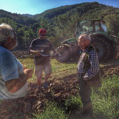 Turning the soil to ready the fields for winter - #thisisfall in #Italy! Pierangelo (on the left) takes a break after countless hours I his tractor while Dr. Gaggi keeps a watchful eye over all operations and Jason happily serves caffe lingering in the banter if these 2 curmudgeon oldtimers! #lifeinitaly