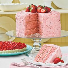 Triple-Decker Strawberry Cake - Layers of moist strawberry cake and Strawberry Buttercream Frosting make this three-layer cake a must for strawberry lovers. I LOVE strawberry cake! Homemade Buttercream Frosting, Frosting Recipes, Strawberry Buttercream, Cupcakes, Cupcake Cakes, Just Desserts, Delicious Desserts, Dessert Recipes, Dessert Healthy