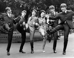 The Beatles clowning around with fellow Liverpool singer Billy Kramer (also managed by Brian Epstein) and hit UK singer Susan Maughan, 1963