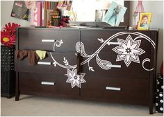 decorated dresser - decal from Uppercase Living