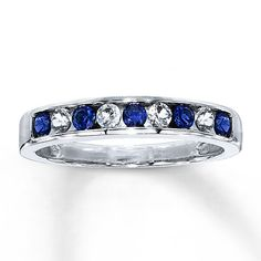Lab-Created Sapphire Ring Round-cut  10K White Gold