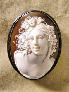 "RARE Vintage Italian 1950's Sea Shell Cameo Pin Pendant Full Face ""Bacchante"" | eBay vintage jewelry x"