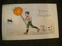 Vintage Halloween Postcard boy with Dog & JOL & Black Cat, marked Series 339A