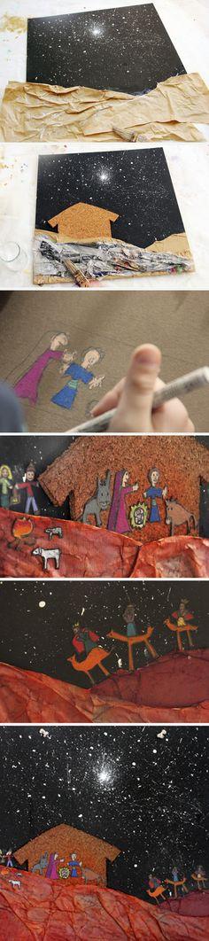 Painted nativity - mama recicla