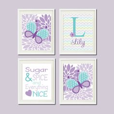 Lavender Violet Lilac Aqua Nursery Decor by LovelyFaceDesigns, $37.00
