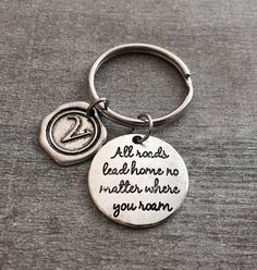 All Roads Lead Home no matter where you roam, Sweet 16, New Driver, Leaving, Goodbye, Deployment, Silver Keychain, Silver Jewelry, Gifts by SAjolie, $16.95 USD