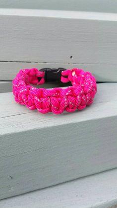 Reflective pink paracord bracelet https://www.etsy.com/uk/listing/242979854/paracord-woven-bracelet-with-clip