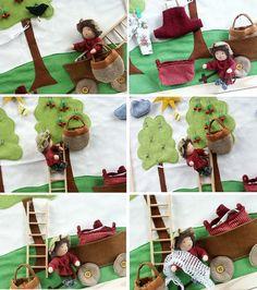 Ankunft  auf der Wiese   oha, eine diebische Krähe im Kirschbaum muss verscheucht werden      Wäsche aufhängen  und  wieder abhängen      ...