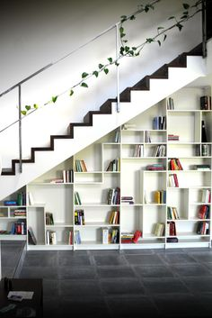 """Cool website that shows how to hack items from IKEA. """"Sgantina"""" – Under stairs Billy Bookshelves - IKEA Hackers"""