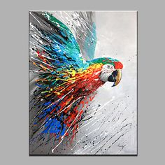 Single Modern Abstract Pure Hand Draw Ready To Hang Decorative The Parrot Oil Painting 2016 - $38.81
