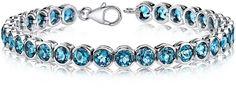 Ice 19 CT TW London Blue Topaz Rhodium Nickel Plated Sterling Silver Tennis Bracelet