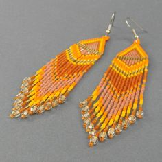 Long orange seed bead earrings  autumn colors by Anabel27shop