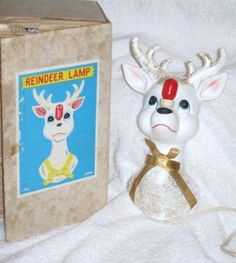 Vintage Christmas Rudolph the Red Nosed Reindeer deer Wall Plaque figurine Hanging Light Lamp Composition RARE Japan with box