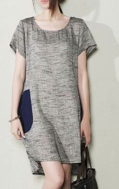 Gray linen sundress plus size cotton summer shift dresses maternity shirt