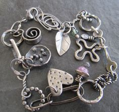 Eclectic Sterling Silver Charm Bracelet Peach Yellow Opal Gemstone Bracelet Artsy Silver Jewelry Boho Charm Bracelet Rustic Silver Jewelry