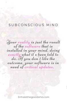 How to control the subconscious? Confidence Coaching, Life Coaching Tools, Consciousness Psychology, Law Of Attraction Tips, Self Acceptance, Mindset Quotes, Feeling Stuck, Subconscious Mind, Spiritual Life