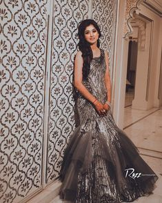 Indo-Western Dress Ideas For Brides To Rock Their Engagement Outfits Wedding Dresses For Girls, Bridal Dresses, Girls Dresses, Western Gown, Western Dresses, Western Outfits, Engagement Gowns, Cinderella Gowns, Reception Gown