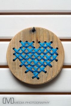 Wood & Cross Stitch Heart - Aqua. $34.59, via Etsy.
