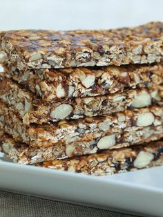Easy and healthy homemade granola bars.  These are packed with nutrients and are easy to make.  Vegan and gluten-free snack recipe.