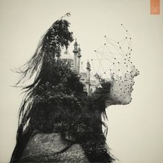 """By: Dan Mountford, from series """"The World Inside Us."""" These double exposure portraits are created in camera, with a little bit of post production work in Photoshop. So beautiful. Design Graphique, Art Graphique, Double Exposure Photography, Art Photography, Dual Exposure, Geometric Photography, Creative Photography, Photomontage, Portraits En Double Exposition"""