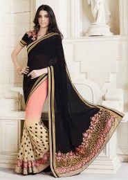 Party Wear Black Georgette Embroidered Work Saree