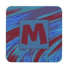 Plastic Coasters Monogram Blue Red Modern Abstract #zazzle #decor #gifts