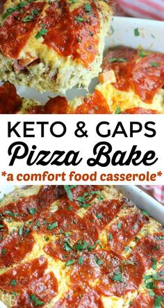 KETO Pizza Bake (GAPS Diet too!) is part of pizza - Keto, Low Carb, Primal and GAPS Diet Pizza Bake is a casserole that tastes like pizza! This is a onedish dinner, affordable; it feeds 6 & is easy to make! Gaps Diet Recipes, Paleo Recipes, Low Carb Recipes, Real Food Recipes, Paleo Diet, Diet Foods, Ketogenic Diet, Protein Recipes, Free Recipes