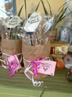 Home propagated plants for preschool mother's day stall. Cellophane, brown paper bag and pretty ribbon covers plastic pot and are ready to present to mum straight away