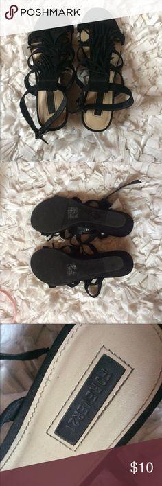 Forever 21 black fringe sandals Black sandals with a small heel. Worn. Forever 21 Shoes Sandals
