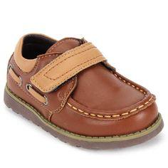 Cute Walk Brown Faux Leather Shoes - Velcro Closure
