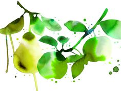 Green watercolor for business card