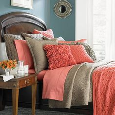 i don't normally like the salmon color pallet, but I keep coming back to this. maybe it's the textures. Amelia Bedding Collection.